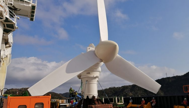 A tidal turbine built in Scotland is now producing power
