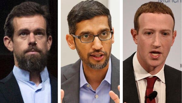 Facebook, Google and Twitter C.E.O.s to Face Lawmakers Again: Live