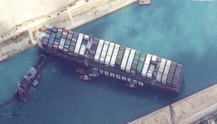 Satellite images of ship Ever Given in Suez Canal shows