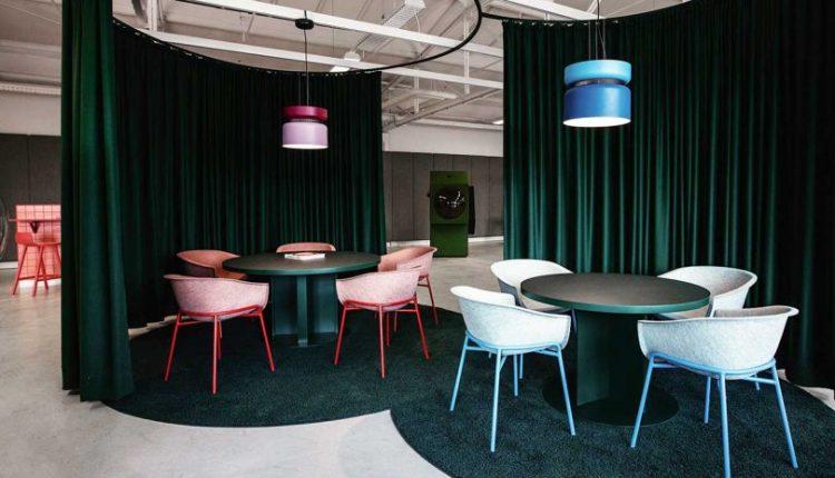 The Colorful LOQI Office Includes Futuristic Work Capsules