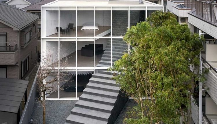 A Minimalist Tokyo Home With a Sculptural Stairway Connecting Three